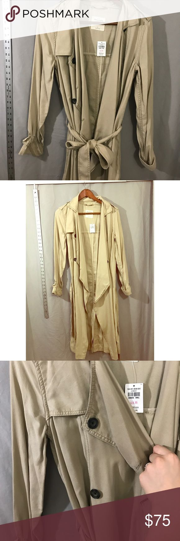 Abercrombie and Fitch Long Jacket NWT A&F khaki colored long jacket!super soft. Size small. NWT!! Would be super cute with a dress. 45 inches long. Has pockets! 100% lyocell. Smoke free home. Make an offer! Abercrombie & Fitch Jackets & Coats