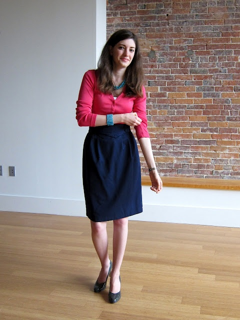 ThoroughlyME: hot pink cardigan outfit