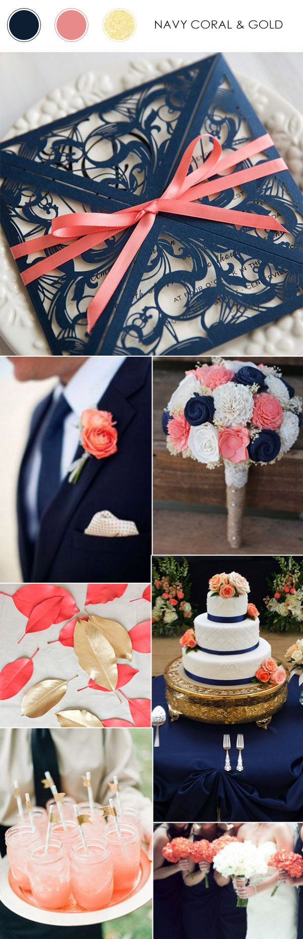 navy blue and coral wedding color ideas and matched wedding invitations