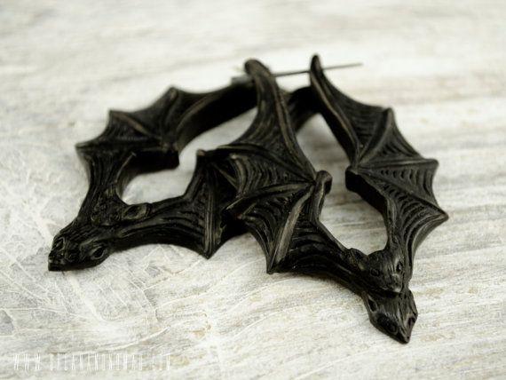 Fledermaus Stick Ohrringe handgemacht schwarz Horn Hoop Ohrringe Tribal Style - PE033 H G1