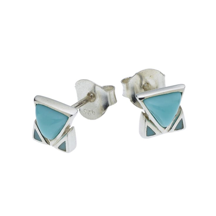 PUSHMATAAHA // SPEARHEAD STUD EARRINGS in American Turquoise with 925 Sterling Silver
