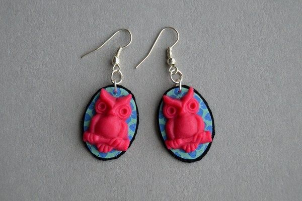 Earrings made of leather, paper and polymer clay. Minka / www.madeby.fi