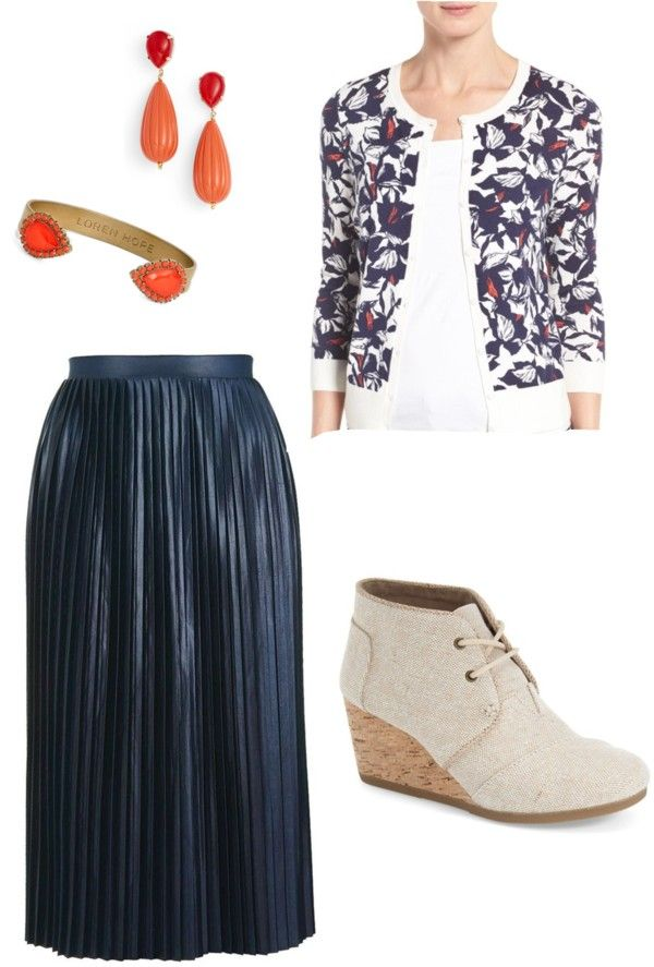 navy midi skirt outfit - floral cardigan - linen wedge booties - red earrings - red cuff bracelet