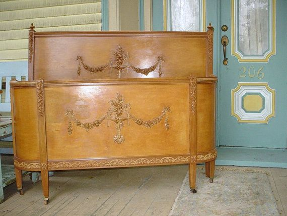 Antique French Bed Headboard Curved Footboard Original