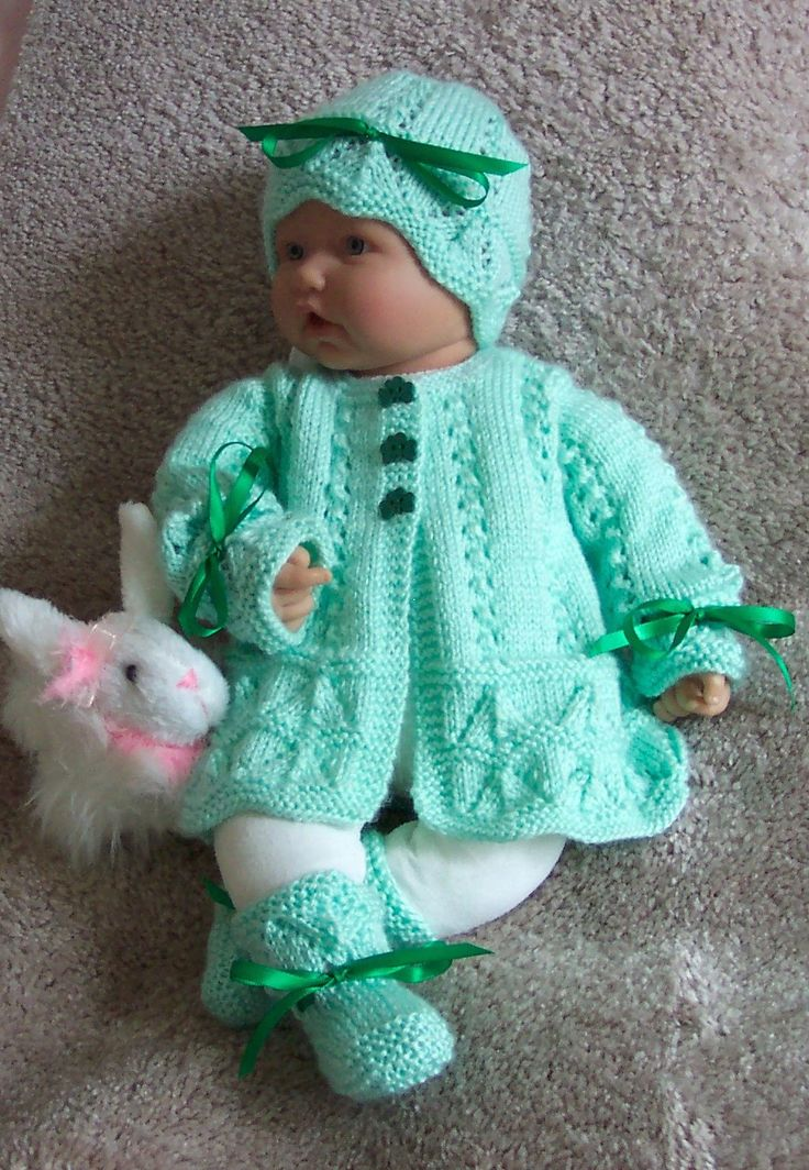 Green baby sweater set . Handmade knitted by Grandma Anne. Lovely for St Patrick's day or Easter.