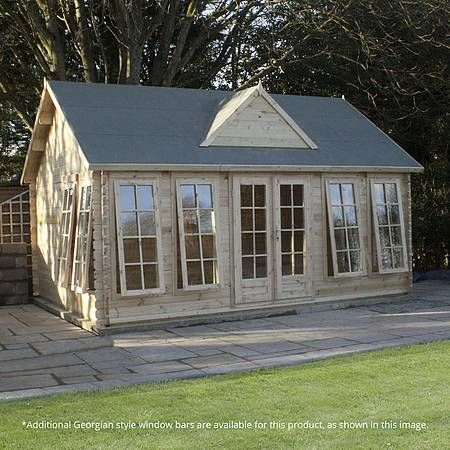 5.5m x 4m Waltons Pool House Log Cabin Double Glazed Safety Glass