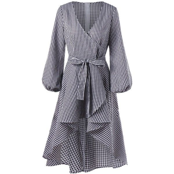 Checked XL High Low Lantern Sleeve Plaid Surplice Dress ($17) ❤ liked on Polyvore featuring dresses, short front long back dresses, tartan dress, plaid dresses, long sleeve dress and checkered dress