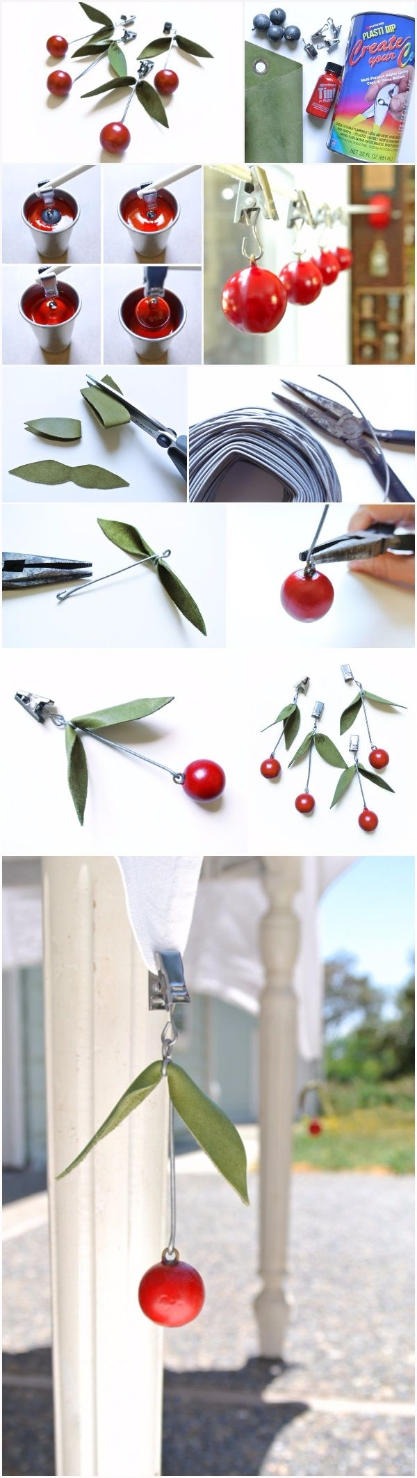 Summer Cherries Tablecloth Weights | DIY Fun Tips                                                                                                                                                                                 More