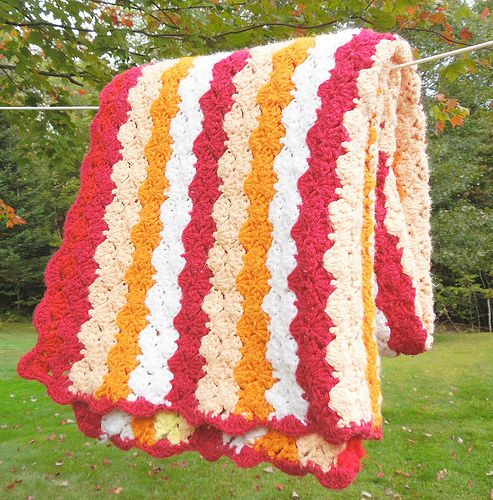 Crochet Striped Afghan Blanket Throw In Orange White Peach