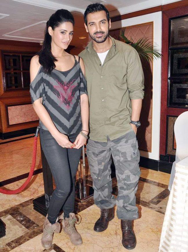 Nargis Fakhri and John Abraham at Madras Cafe promotional event #Bollywood #Style #Fashion