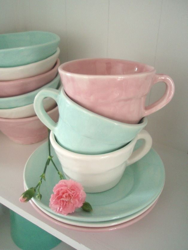 pastel cups and saucers