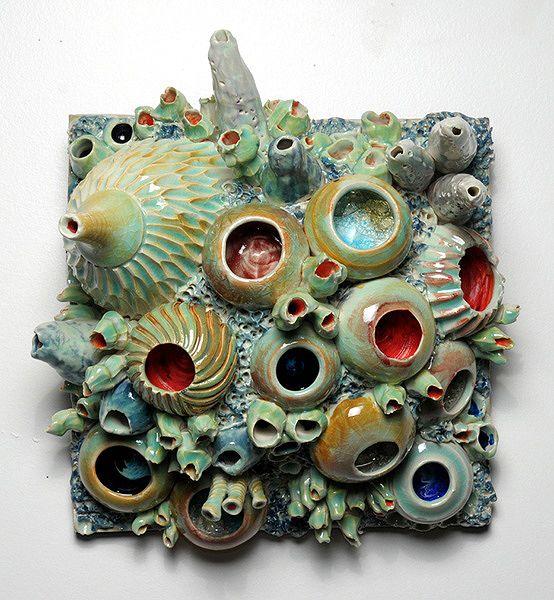 "womens yoga clothing Diane Lublinski, Artist, ceramic coral reef wall hanging, 6"" deep x 10"" x 11"" | inspired creativity. |  | Coral Reefs, Wall Hangings and Ceramics"