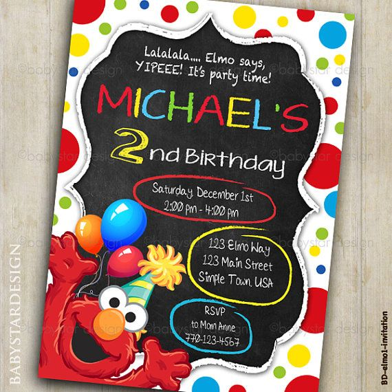 Elmo Birthday Invitation Sesame Street by babystardesign on Etsy