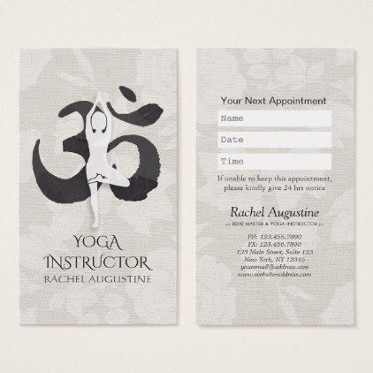 Yoga instructor appointment meditation pose om business card yoga instructor appointment meditation pose om business card watercolor gifts style unique ideas diy reheart Images