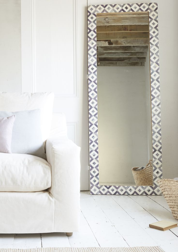 Zebedee mirror, bone inlay, monochrome design with the feel of Souks and wanderlust