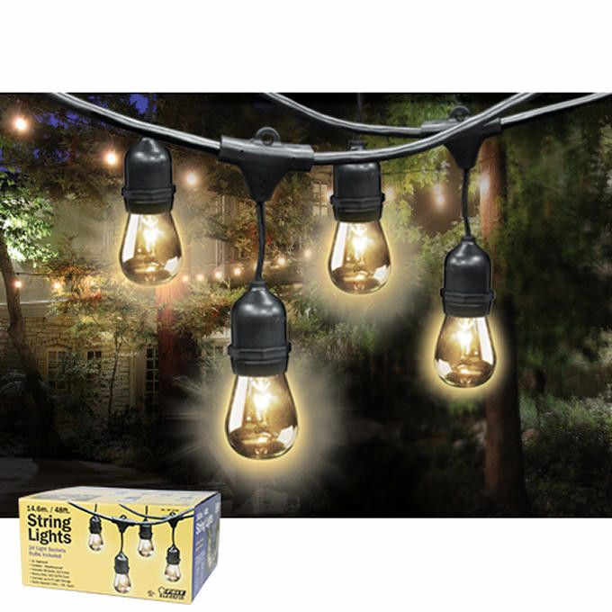 Feit Outdoor Weatherproof String Light Set, Black, 48 ft, 24 Light Sockets, Includes 36 Bulbs