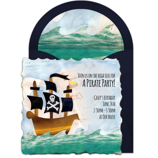 A great free birthday party invitation featuring a pirate ship design. We love this for inviting friends to a pirate birthday party!