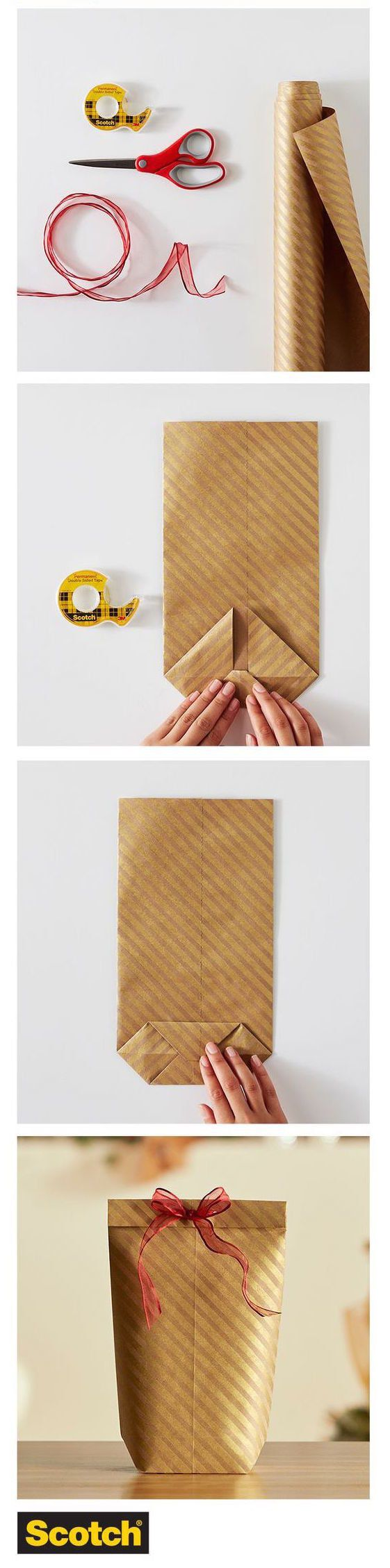 Make this quick gift bag out of wrapping paper when it's midnight on Christmas eve and you wind up with an oddly-shaped gift and no more available bags. | 21 Clever Tips That Will Make Gift Wrapping So Much Easier