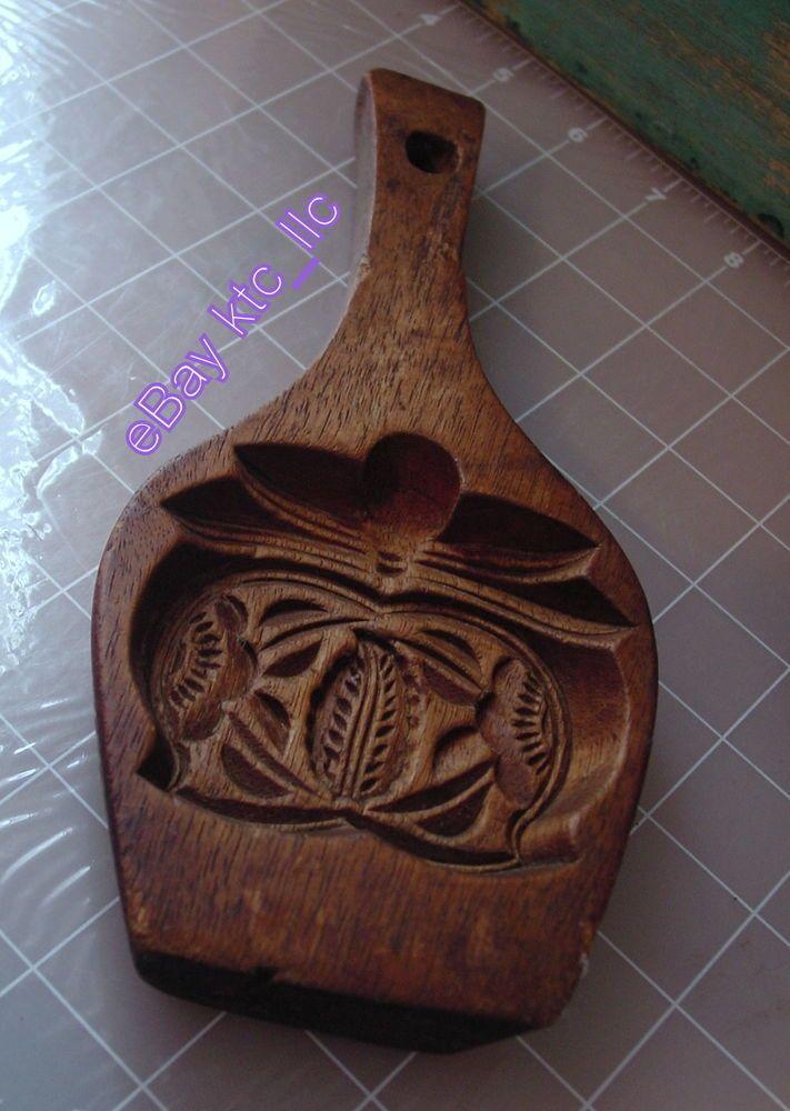 vintage PRIMITIVE carved wood BUTTER / COOKIE mold press - stamp paddle