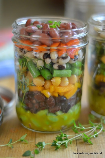 The view from Great Island: Minimal Monday: Layered 7-Bean Salad in a Jar  http://theviewfromthegreatisland.blogspot.com/2013/04/minimal-monday-layered-bean-salad-in-jar.html