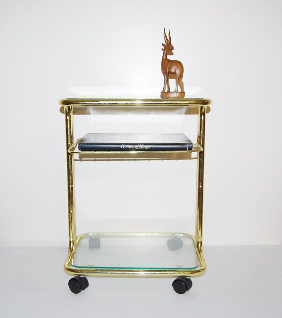 Vintage Brass Cart / Side Table / Book by CheekyVintageCloset, $125.00