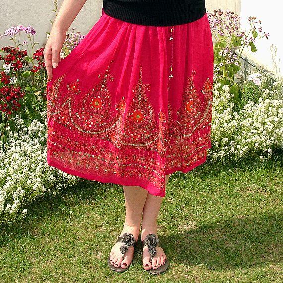 Pink Gypsy Skirt, Knee Length Flowy Bollywood Skirt by DelhiDaze, $33.00