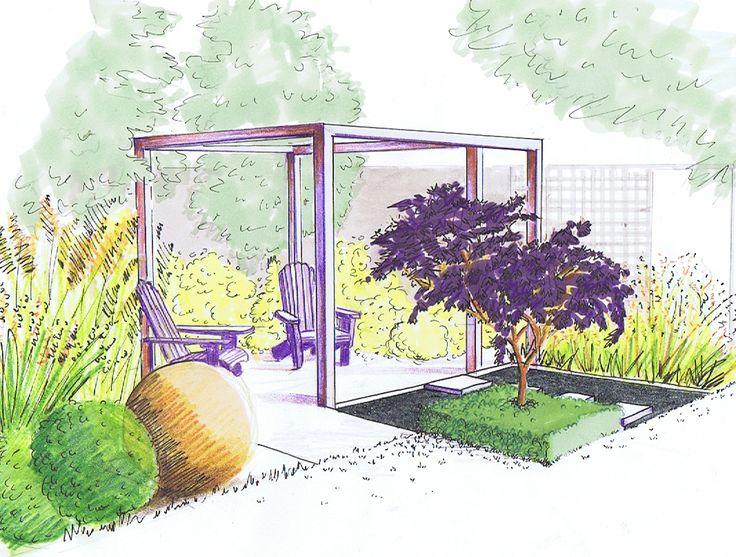 Design for relaxing in a small urban garden with a choice for Garden design visualiser