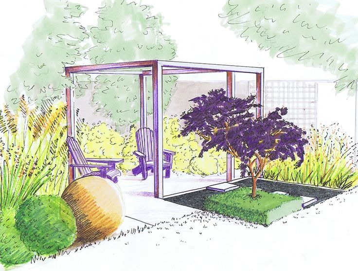 Design for relaxing in a small urban garden with a choice of two patios separated by a square pond with 'floating' pavers and a focal point tree 'island'.