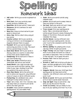 Spelling homework ideas FREE