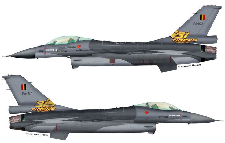 "F-16A Block 15AA OCU #FA-107 (s/n 87-0051, c/n 6H-107) from 31 sqn ""Tigers"" Belgian Air Force - BAF. Tiger Meet 2014. June 2014."