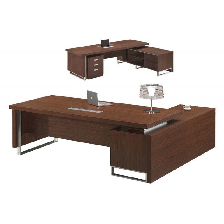 Office Alpine right corner dark walnut 240x100x76/200x62x60