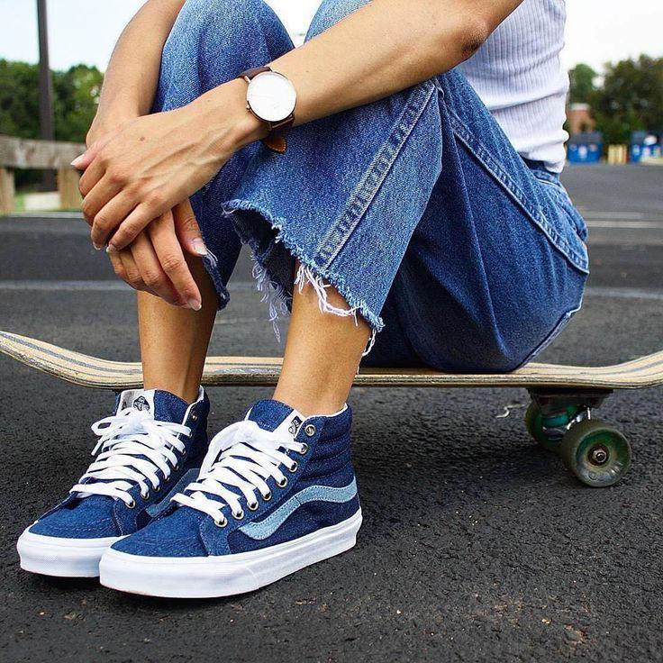 Sneakers femme - Vans Sk8-hi jeans (©mskerih)