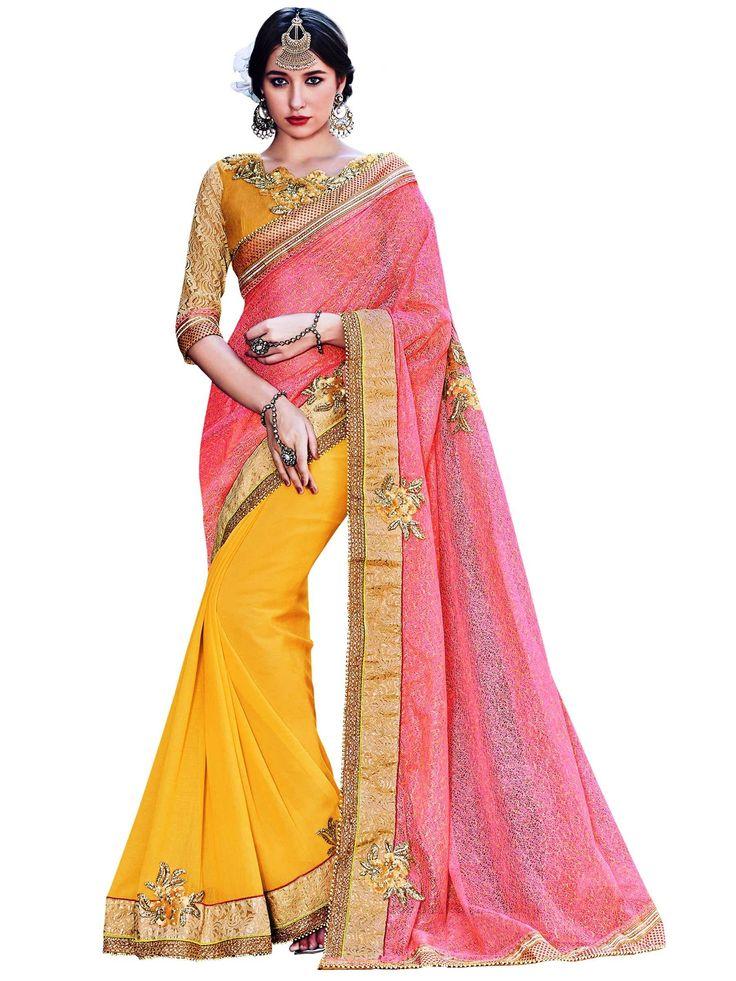 Indian Women Pink And Yellow Chiffon Saree