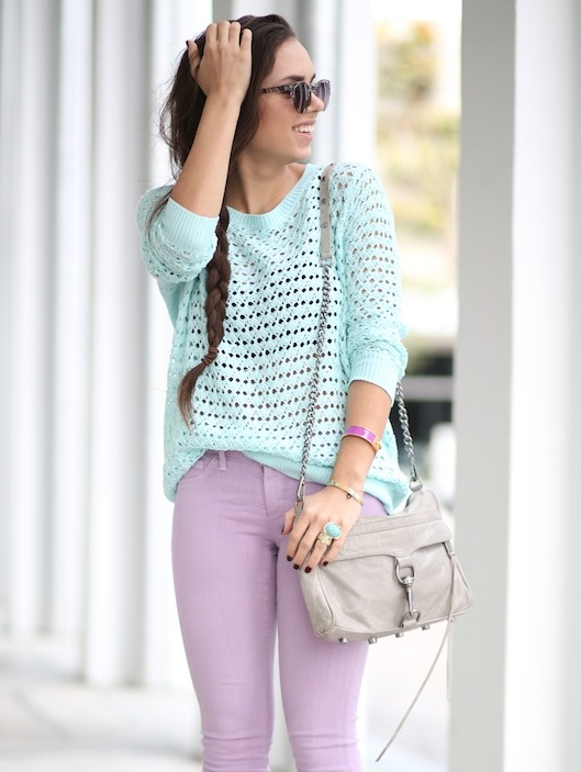 Spring Pastels. @patricijamarkvaite isn't this adorable? Will have to look at getting those lavender jeans with my mint cable sweater!