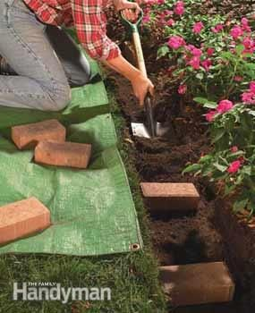 "Paver Border - (2) Dig a Wide Trench:  Dig a 4"" deep trench about an inch wider than the brick pattern, using a square spade.  Cut the edge along the grass smooth and square."