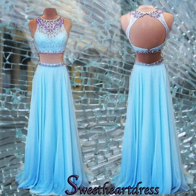 Prom dresses long, two pieces junior prom dress, 2016 handmade blue chiffon open back evening dress for teens sweetheartdress.s... #coniefox #2016prom                                                                                                                                                                                 More