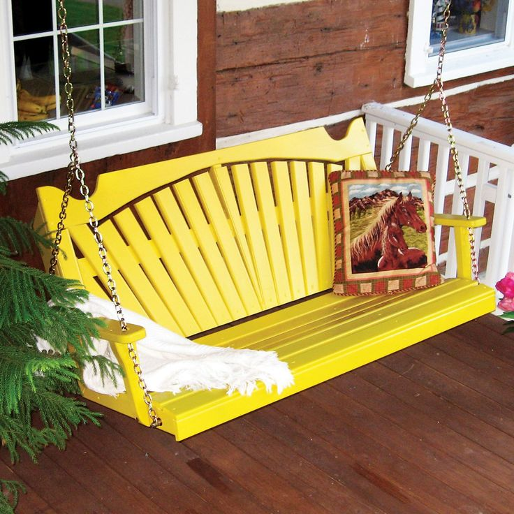 A & L Furniture Fan Back Style Porch Swing - Adirondack Furniture at Hayneedle $310