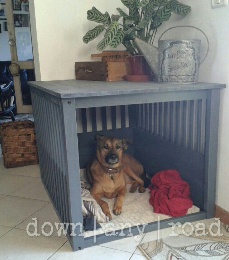 Diy dog kennel from upcycled crib and reclaimed wood, plus homemade doggie bed!   © Down Any Road