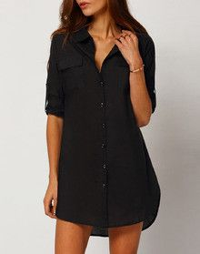 Black Shirt Dress Button Down