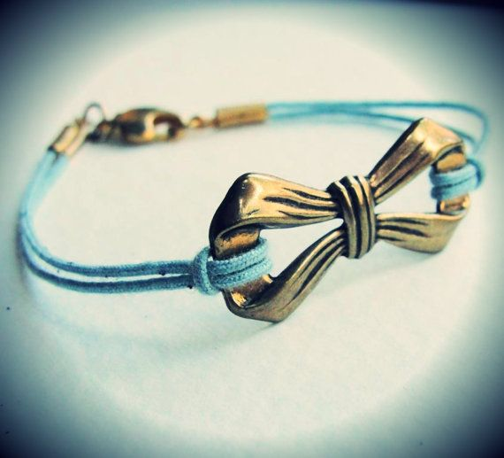Vintage Bow bracelet by JewelryByMaeBee on Etsy, $ 18.00Blue Tuesday, Girly Bracelets, Bow Bracelet, Vintage Bows, Necklaces Gold, Something Blue, Etsy Happy, Necklaces Rings, Bows Bracelets