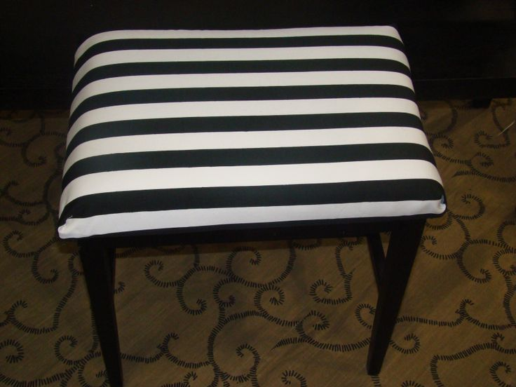 SOLD Vanity seat, stool, small bench, wood base, fabric seat $45, Item # CS-1017, In stock.  http://www.findandtreasure.com/catalogue.html