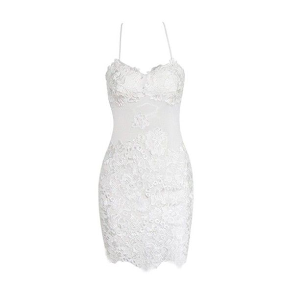 Hold You Close White Spaghetti Strap Lace Backless Bodycon Mini Dress (200 BRL) ❤ liked on Polyvore featuring dresses, vestidos, lace bodycon dress, bodycon mini dress, backless cocktail dress, short white dresses and short lace dress