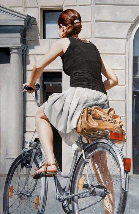 Artist: Marc Figueras {figurative female realism woman bicycle painting}