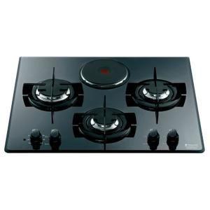 HOTPOINT TD 631 S BK IX/HA - Table de cuisson mixte gaz + électrique 4 foyers