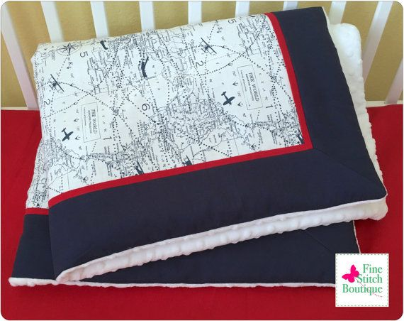Navy Blue AIR TRAFFIC Baby Quilt Blanket - Navy Vintage Airplane Quilt Blanket - Baby Boy Airplane Blanket - Made-to Order