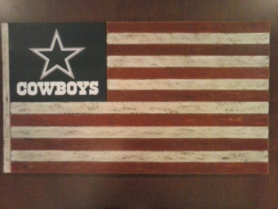 Dallas Cowboys Flag--handmade from antique recycled wood