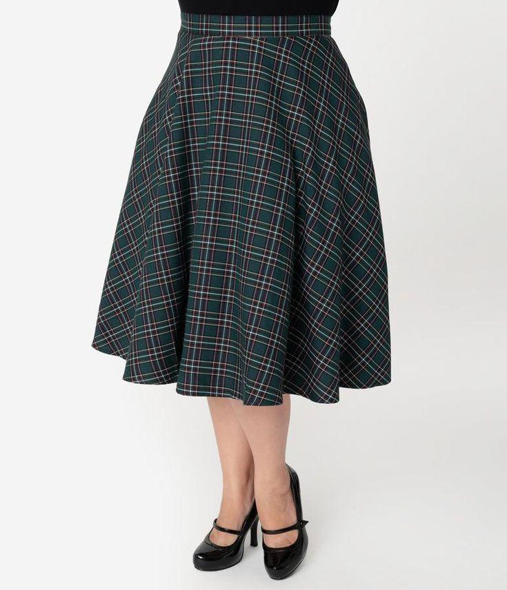 Hell Bunny Plus Size 1950s Style Green Tartan High Waist Peebles Swing Skirt 11