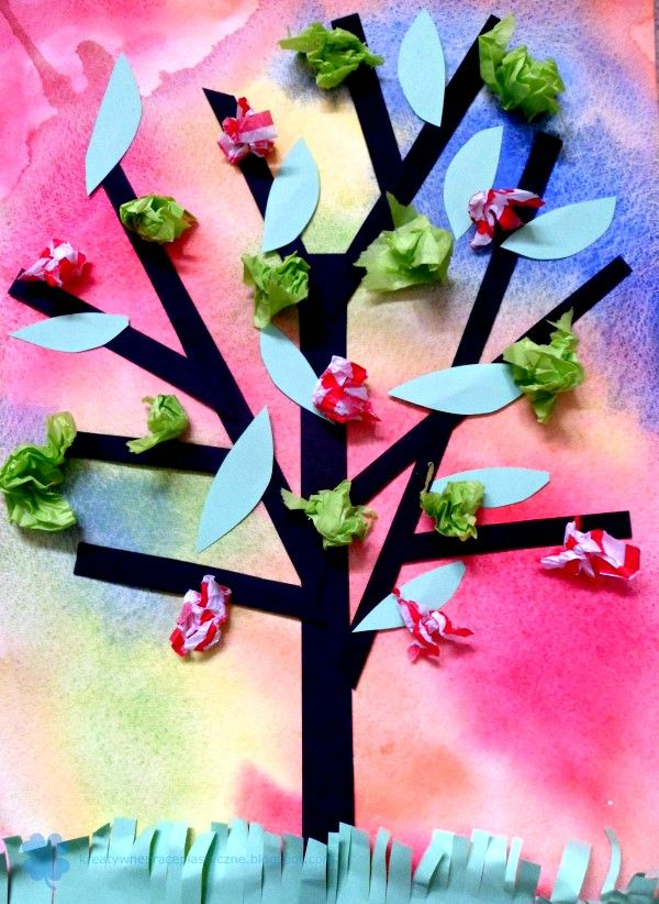 Art project for kids - paper cut tree on art paper.