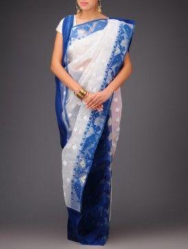 Blue-White Cotton Jamdani Saree