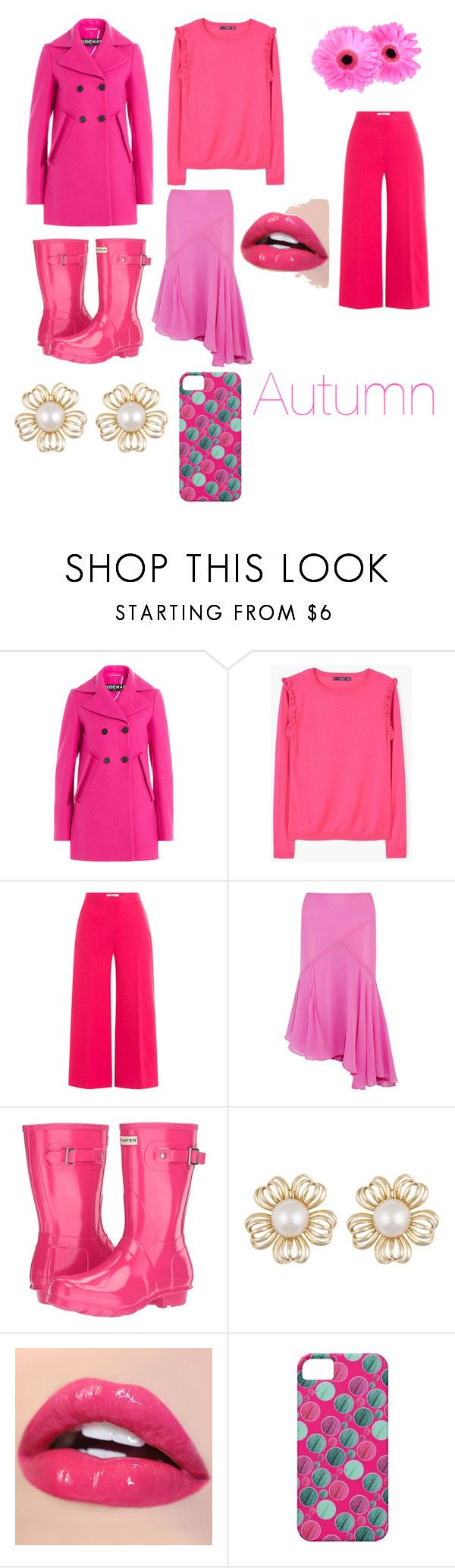 """Yearly Pink Collection: Autumn"" by moonlightshine1st ❤ liked on Polyvore featuring Rochas, MANGO, MSGM, Topshop Unique and Hunter"